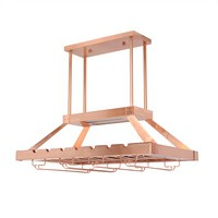 2 Light Led Overhead Wine Rack, Copper
