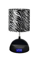 LighTunes Bluetooth Speaker Lamp with Alarm Clock, FM Radio, USB Charging Port, and Zebra Shade