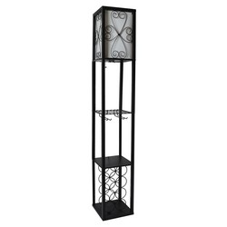 Black Etagere Floor Lamp with Linen Shade and Wine Rack