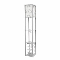 Gray Etagere Floor Lamp with Linen Shade and Wine Rack