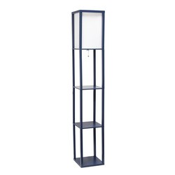 Navy Etagere Floor Lamp with Linen Shade