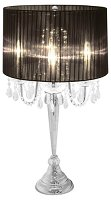 Elegant Designs Trendy Sheer Black Shade Table Lamp with Hanging Crystals