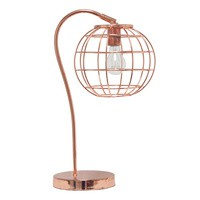 Arched Metal Cage Table Lamp, Rose Gold