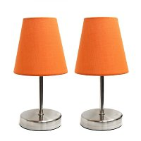 Simple Designs Sand Nickel Mini Basic Table Lamp with Fabric Shade 2 Pack Set