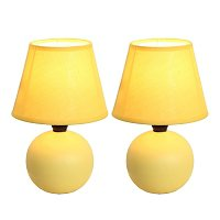Simple Designs Mini Ceramic Globe Table Lamp 2 Pack Set