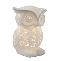 Simple Designs Porcelain Wise Owl Shaped Animal Light Table Lamp
