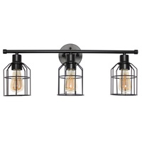 Matte Black Industrial Wired Vanity Light with 3 Lights