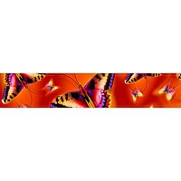 Lama Kasso Table Runner #609-T, Large Butterflies on a Red Transitioning to Orange Background 16″x84″ Satin Runner
