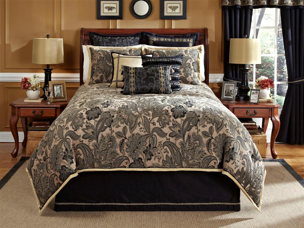 Alamosa 4 PC Queen Comforter Set Black Tan