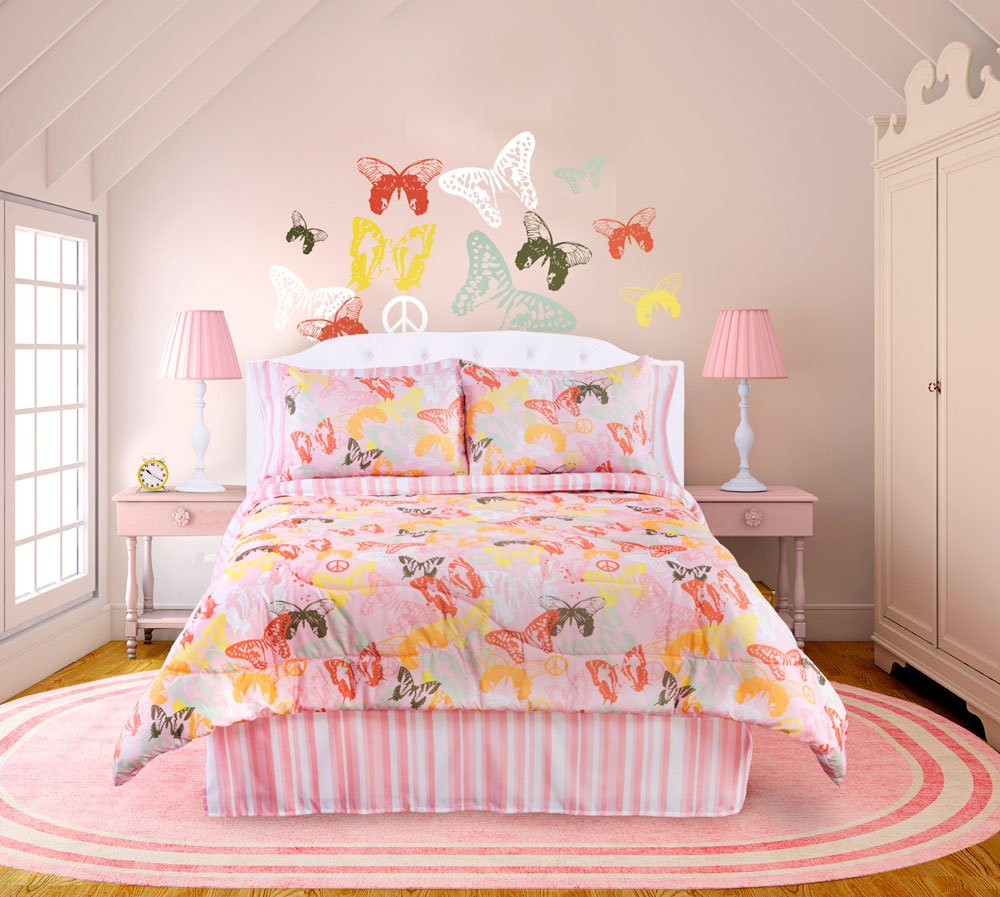 Butterflies Are Free 4 Pc Full Comforter Set Pink White