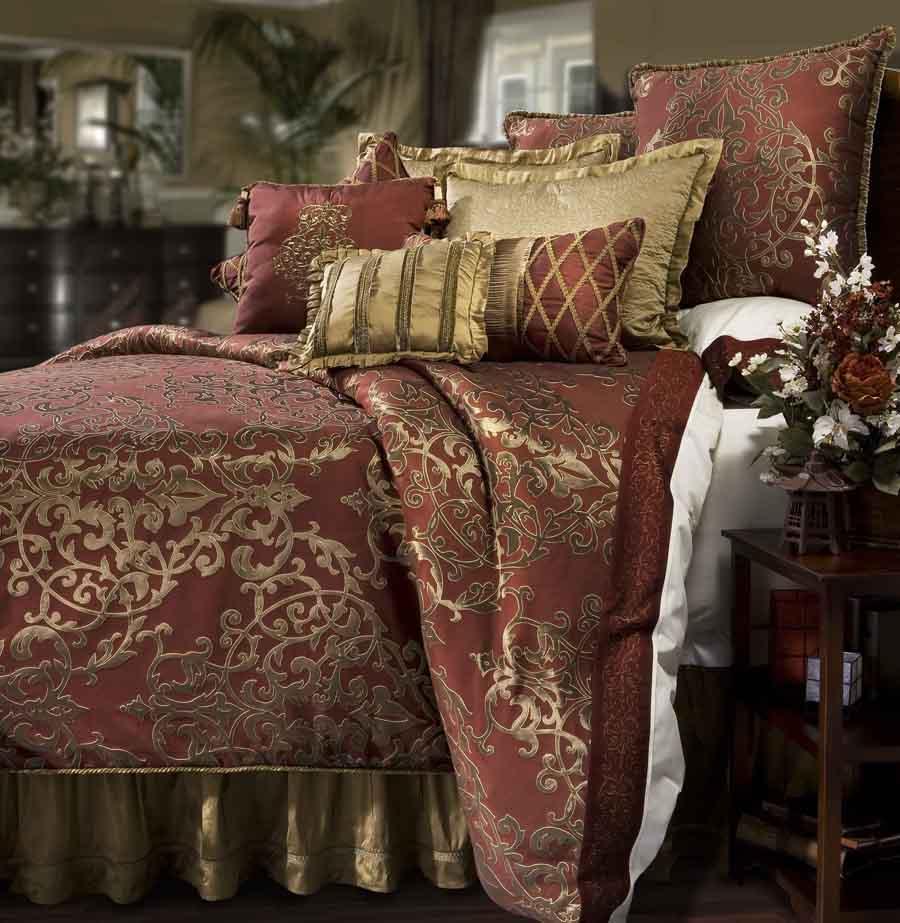Glenaire 4 pc california king comforter set pomegranate - King size bedroom comforter sets ...