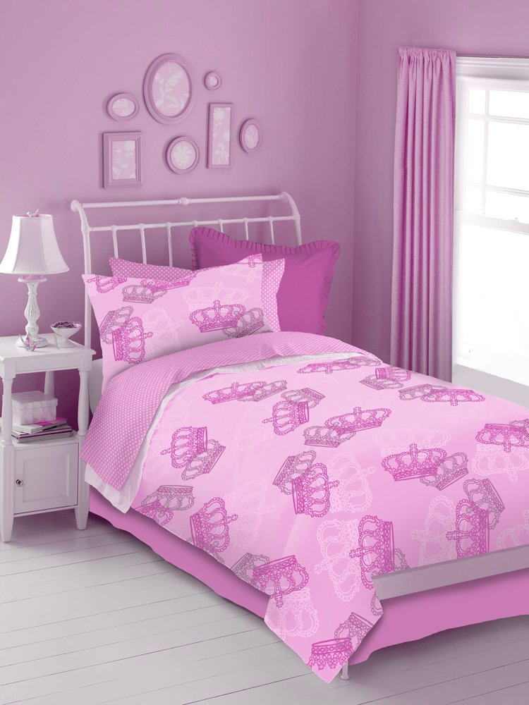 Pink Crowns 4 Pc Twin Comforter Set Pink