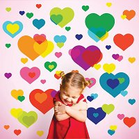 Overlapping Heart Wall Stickers