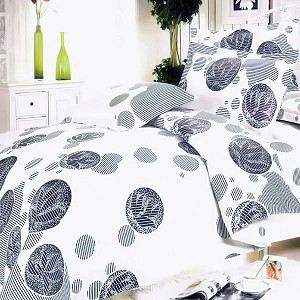 White Gray Marbles, 100% Cotton 4PC Duvet Cover Set (King Size)