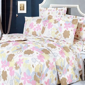 Pink Brown Flowers, 100% Cotton 4PC Duvet Cover Set (Queen Size)