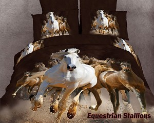 Equestrian Stallions by Dolce Mela, 6-PC King Size Duvet Cover Set in a Beautiful Dolce Mela Gift Box DM424K