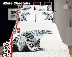 White Cheetahs by Dolce Mela, 4-PC Twin Size Duvet Cover Set in a Beautiful Dolce Mela Gift Box DM431T