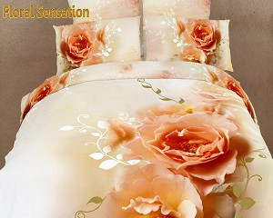 Floral Sensation by Dolce Mela, 6-PC Queen Size Egyptian Cotton Duvet Cover Set in a Beautiful Dolce Mela Gift Box DM438Q