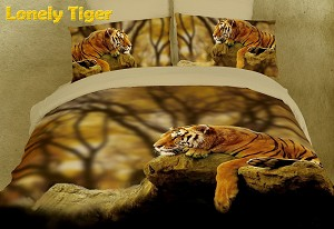 Lonely Tiger by Dolce Mela, 6-PC Queen Size Duvet Cover Set in a Beautiful Dolce Mela Gift Box