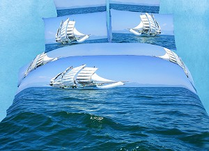 Bon Voyage by Dolce Mela, 4-PC Twin Duvet Cover Set with Sail Boat Sailing on the Caribbean Blue Waves in Dolce Mela Gift Box, DM482T