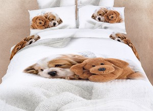 Doggies Queen Bedding Cute Dogs Animal Print Duvet Cover Set By Dolce Mela