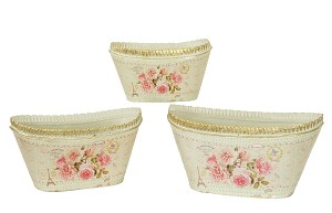 French country planters oval vintage metal decorative vases & flower pots Mela (set of 3)