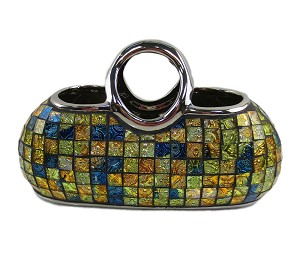 Decorative Ceramic and Glass Purse Floral Vase