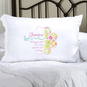 Cheerful Blossoms Personalized Pillowcase (inscribe pillowcase with name or other personal inscription, upto 20 characters)