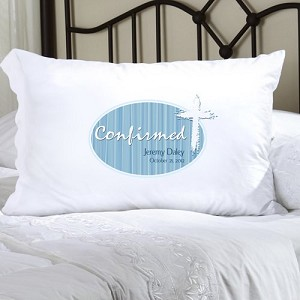 Blue Light of God Confirmed Personalized Pillowcase (personalized with name and date of Confirmation, upto 20 characters per line)