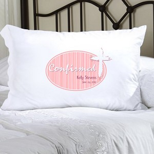 Pink Light of God Confirmed Personalized Pillowcase (personalized with name and date of Confirmation, upto 20 characters per line)