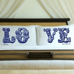 Complementing Pair of Blue Royals Love Connection Personalized Pillowcases for Couples (personalized with his and her first names)