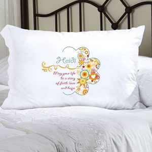 Sunny Flowers Personalized Pillowcase (inscribe pillowcase with name or other personal inscription, upto 20 characters)