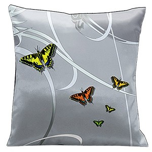 Lama Kasso Pillow #27, Butterflies and Scrolls on Silver Grey Background 18″ Square Satin Accent Pillow