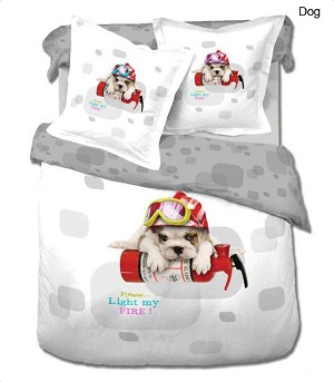 Dog, 4-PC Twin Duvet Cover Set