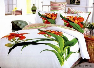 Tiger Lily (Aliza White)-6 Piece Full-Queen Bedding Floral White Duvet Cover Set