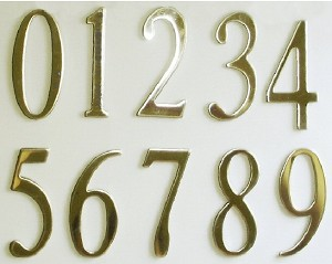 Polish Brass House or Mailbox Numbers (3-inch)