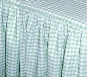Mint Green Gingham Check Bedskirt