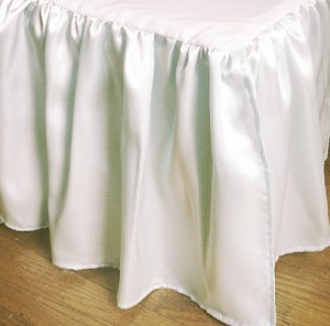 White Satin Bedskirt (in all sizes including crib and daybeds and many custom skirt drop lengths)