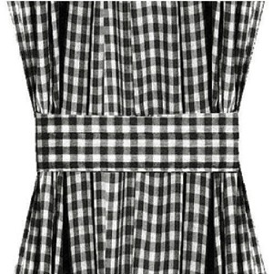 Black Gingham French Door Curtain