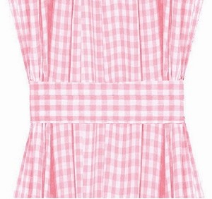 Light Pink Gingham French Door Curtain