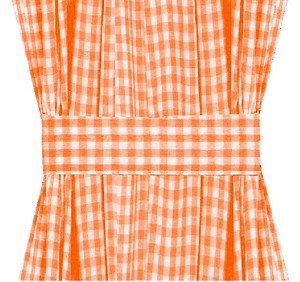 Orange Gingham French Door Curtain