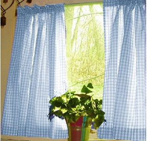 Blue Gingham Check Kitchen Curtain