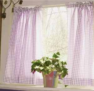 Light Purple Gingham Check Kitchen Curtain