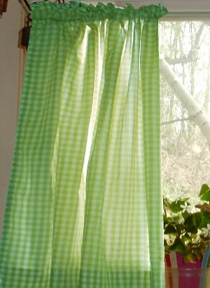 Lime Green Gingham Kitchen/Café Curtain (unlined or with white or blackout lining in many custom lengths)