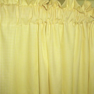 Mini Check Yellow Gingham Kitchen/Café Curtain (unlined or with white or blackout lining in many custom lengths)