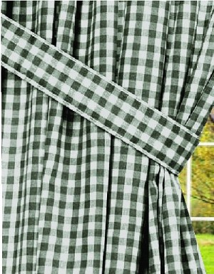 Hunter Green Gingham Check Window Long Curtain Available