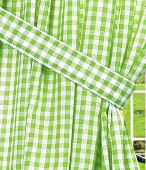 Lime Green Gingham Check Long Curtain
