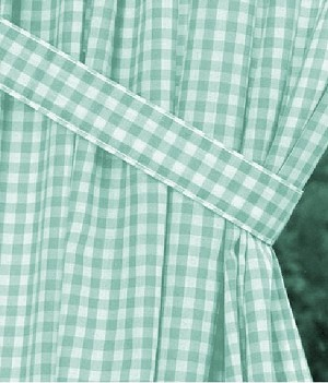 Mint Green Gingham Check Long Curtain