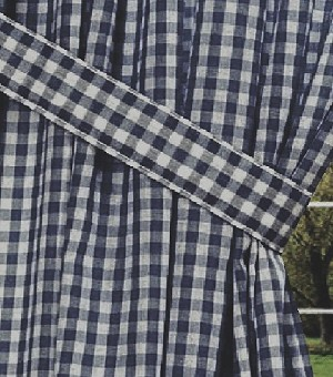 Navy Blue Gingham Check Long Curtain
