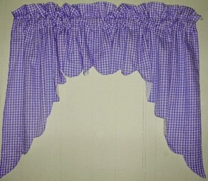 Purple Scalloped Window Swag Valance with White Lining